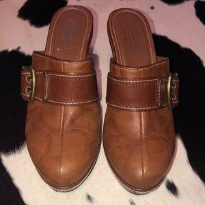 Coach tan leather monogram heeled mules, size 8